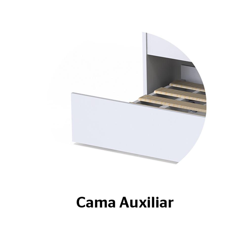 Cama Auxiliar sem Gaveta Branco Brilho - Carolina Baby