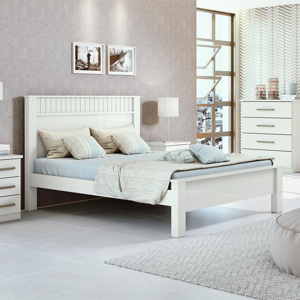Cama Casal Athenas Plus Branco - Lopas