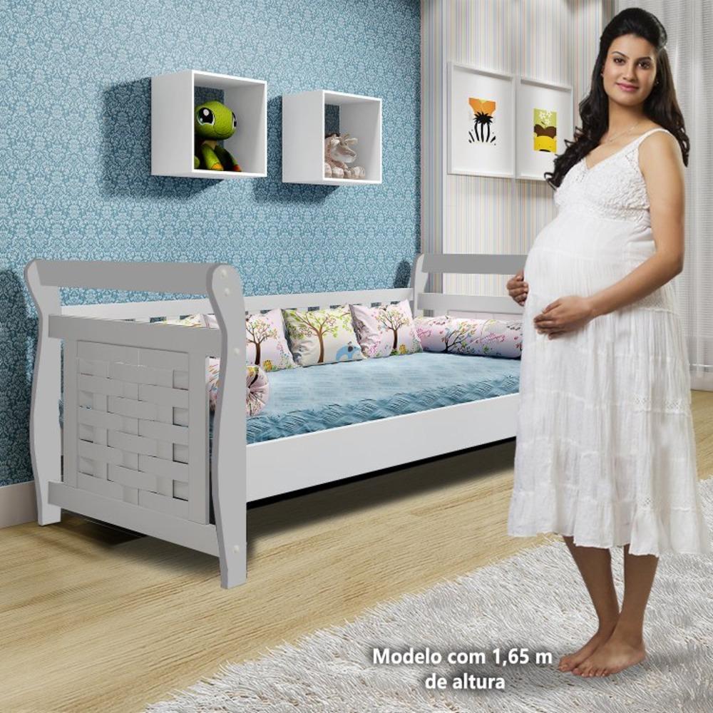 Cama Infantil Cabeceira Treliça Babá Happy - Branco - Tigus Baby