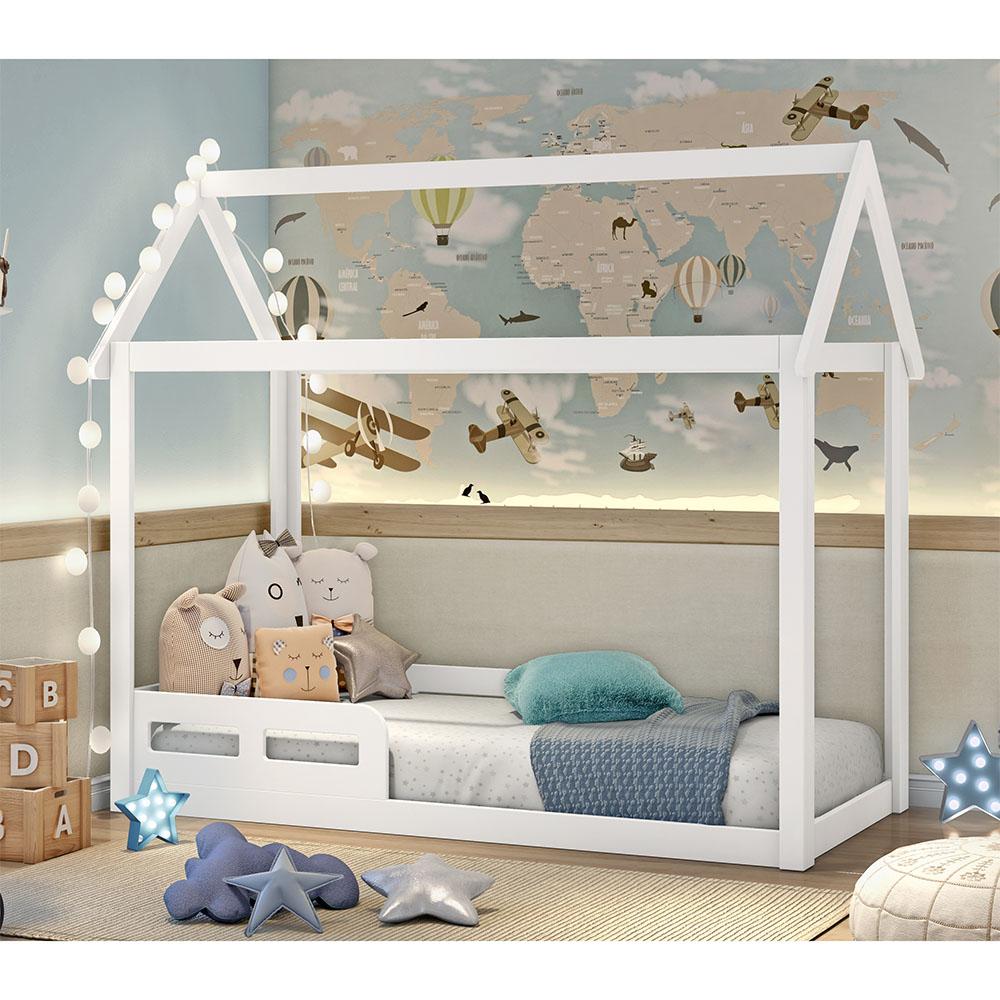 Cama infantil Montessoriana Analu casinha Branco Fosco - Carolina Baby