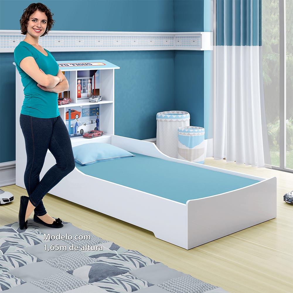 Cama Juvenil Mimus - Branco/Azul - Tigus Baby