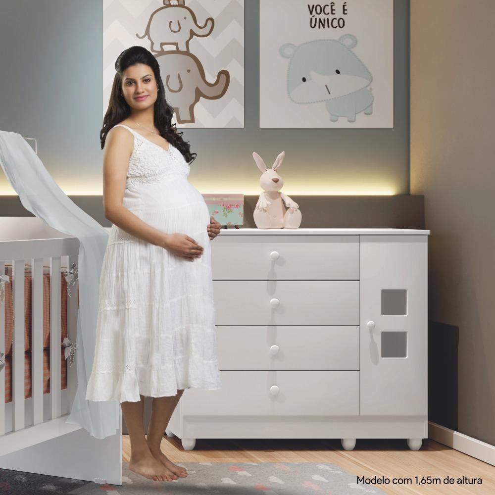 Cômoda 1 Porta 4 Gavetas Life - Branco - Tigus Baby
