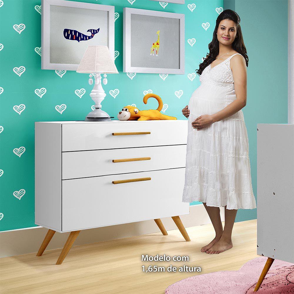 Cômoda 3 Gavetas Dani Branco - Tigus Baby