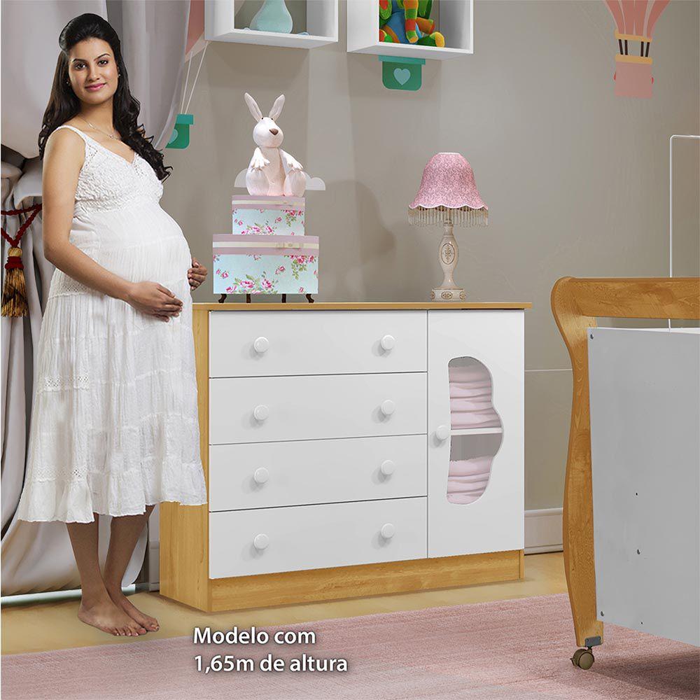 Cômoda 4 Gavetas 1 Porta Slim Branco/Naturale - Tigus Baby