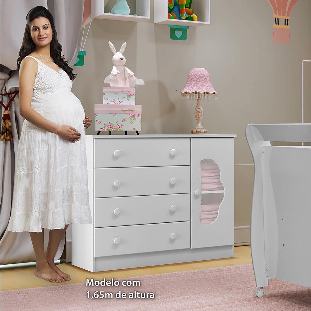 Cômoda 4 Gavetas 1 Porta Slim Branco - Tigus Baby