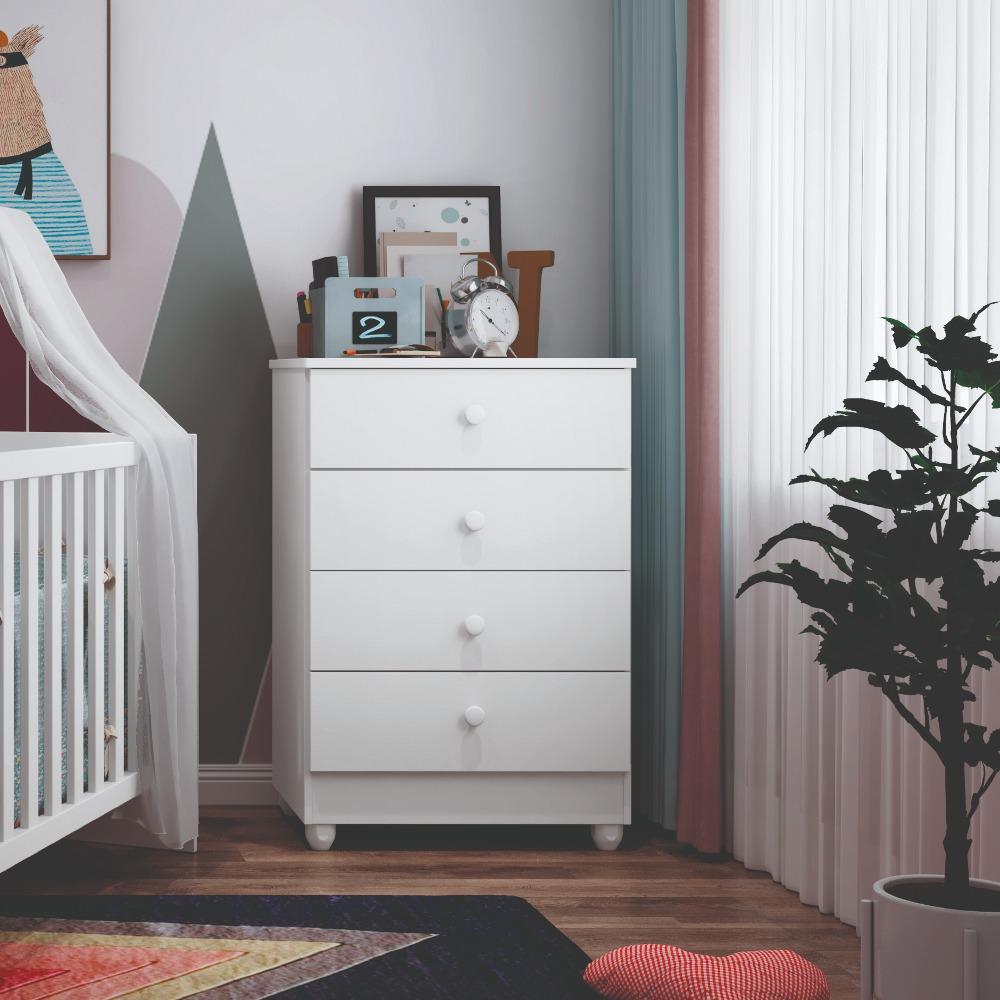 Cômoda 4 Gavetas Soft Life - Branco - Tigus Baby