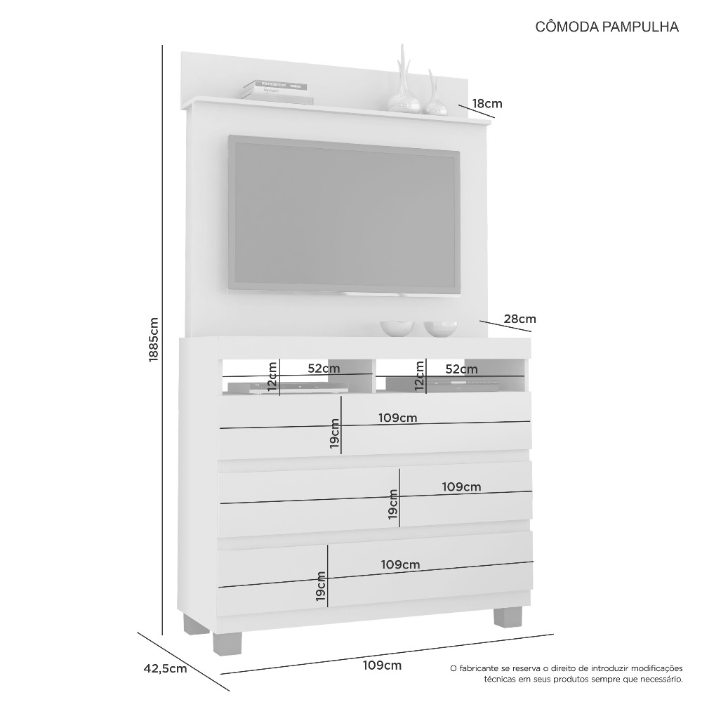 Comoda Pampulha Branco - JCM Movelaria