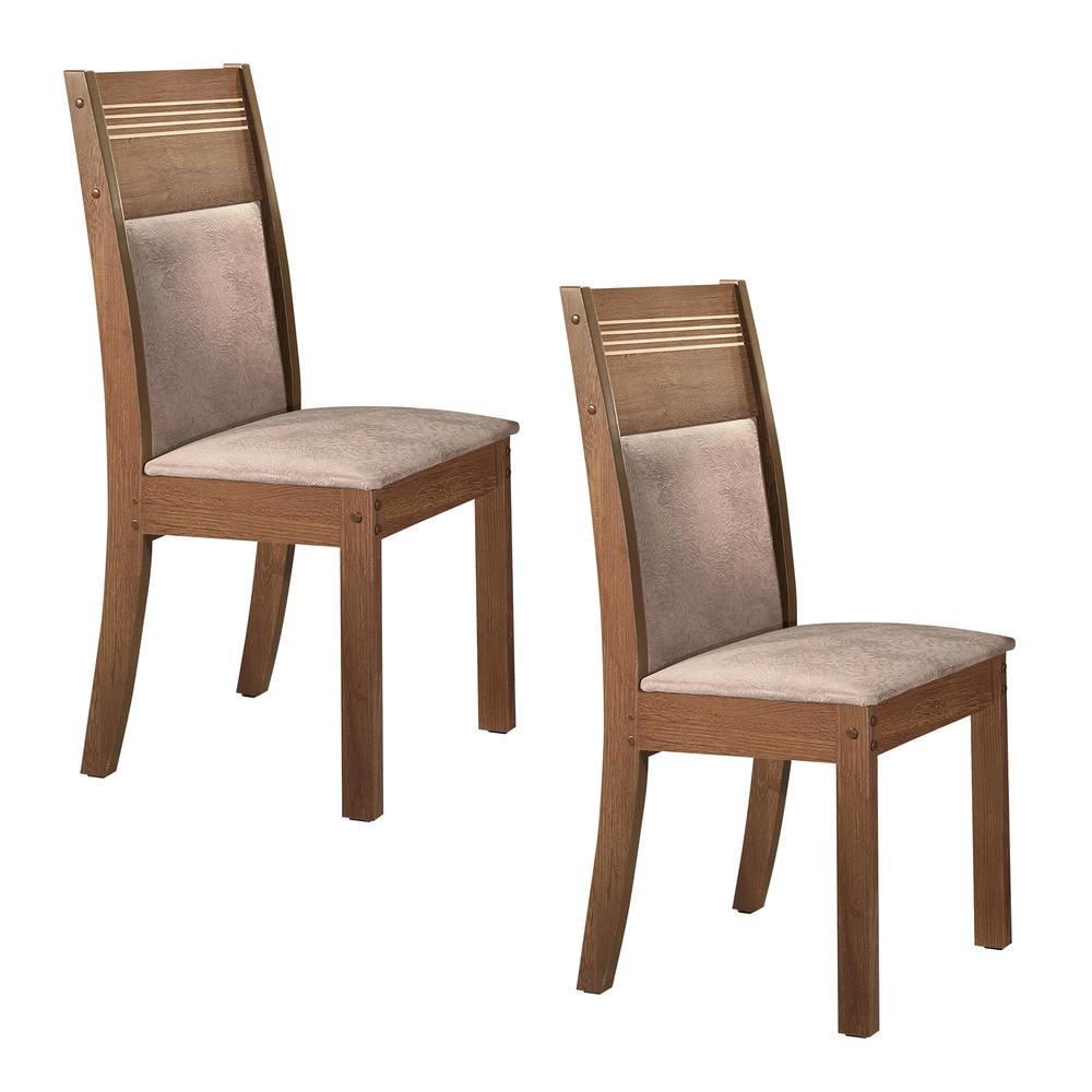 Conjunto 2 Cadeira Ravena  - Chocolate/Suede Pena - Cel Móveis