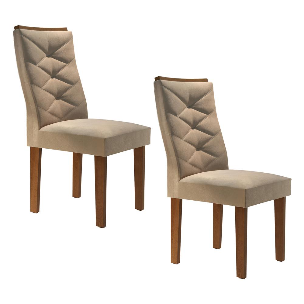 Conjunto 2 Cadeira Riviera - Chocolate/Suede Pena - Cel Móveis