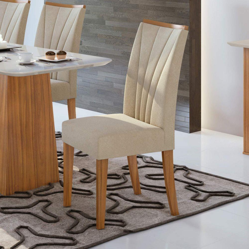 Conjunto 2 Cadeiras Apogeu Rovere Naturale/Velvet Naturale Creme - Lopas