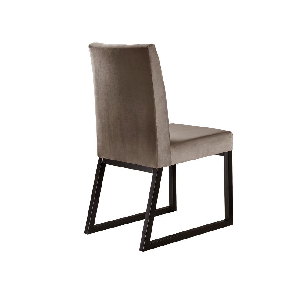 Conjunto 2 Cadeiras Atena Café/Veludo Bege Caramelo - MAIS DECOR