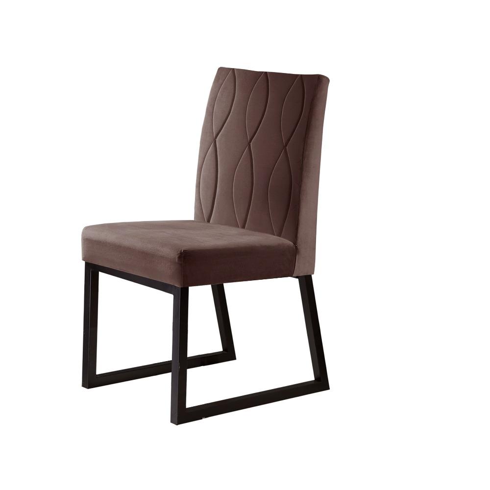 Conjunto 2 Cadeiras Atena Café/Veludo Marrom Caramelo - MAIS DECOR