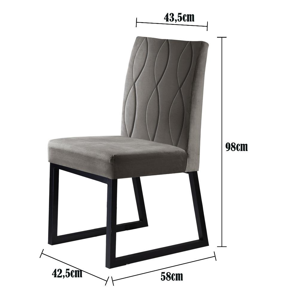 Conjunto 2 Cadeiras Atena Grafite/Veludo Bege Marfim - MAIS DECOR