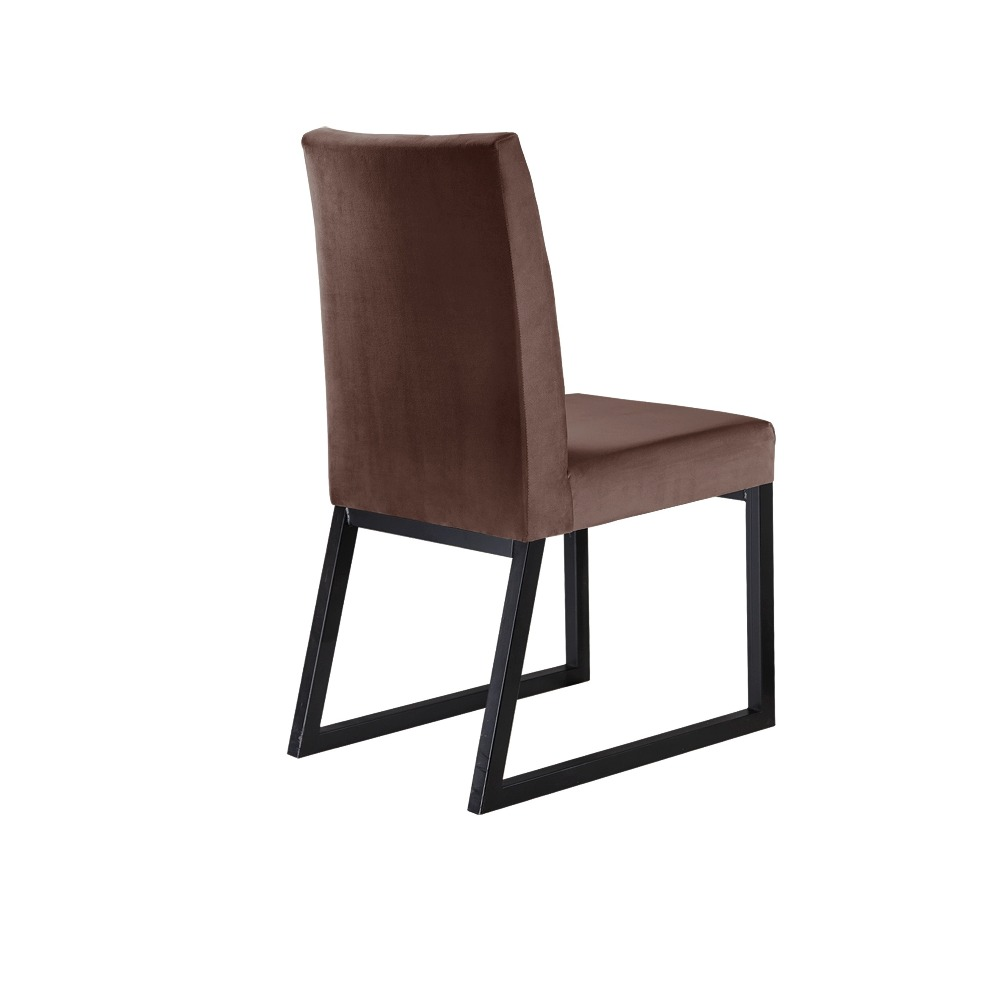 Conjunto 2 Cadeiras Atena Grafite/Veludo Marrom Caramelo - MAIS DECOR