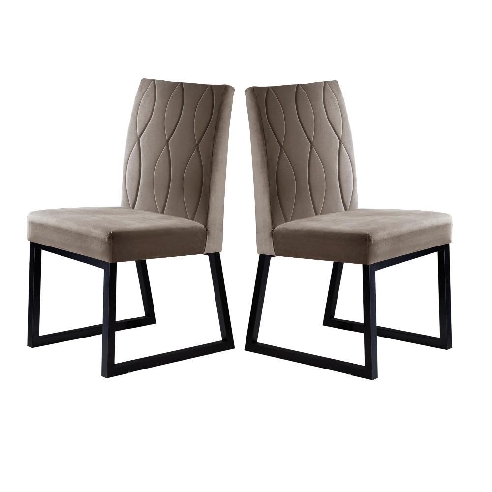Conjunto 2 Cadeiras Atena Preto/Veludo Bege Caramelo - MAIS DECOR