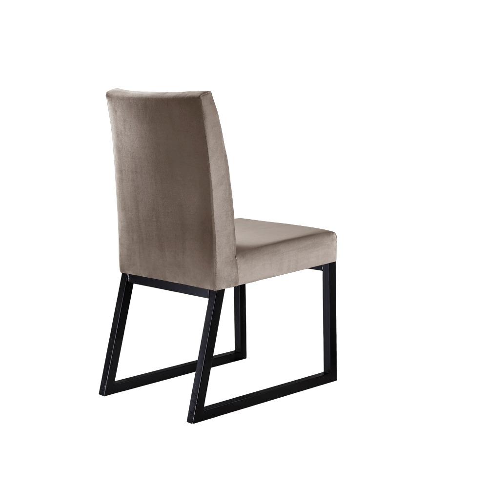 Conjunto 2 Cadeiras Atena Preto/Veludo Bege Marfim - MAIS DECOR