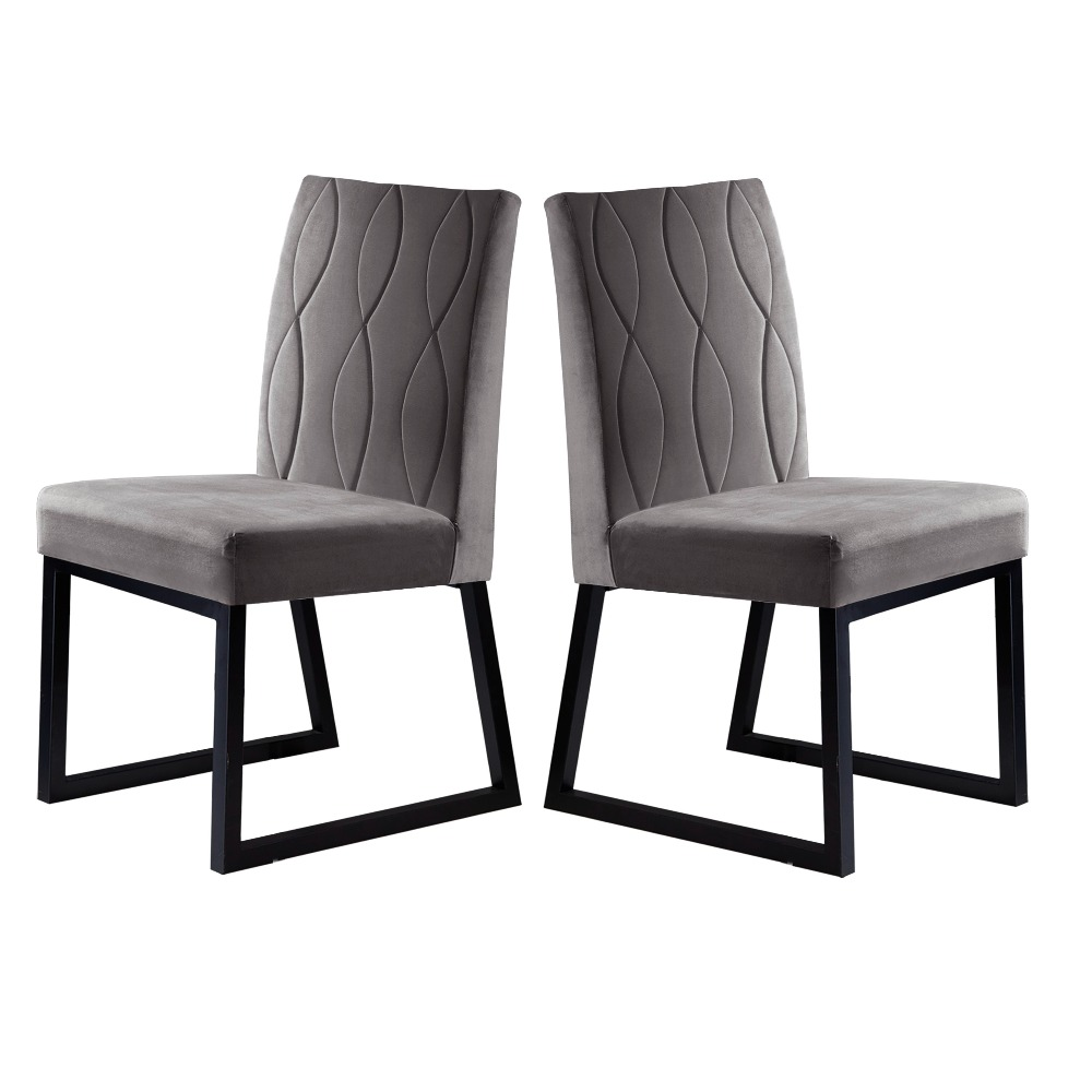 Conjunto 2 Cadeiras Atena Preto/Veludo Camurça - MAIS DECOR