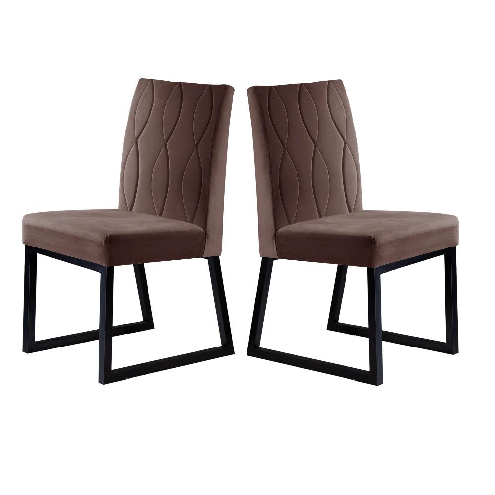 Conjunto 2 Cadeiras Atena Preto/Veludo Marrom Caramelo - MAIS DECOR
