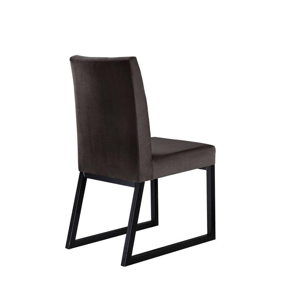 Conjunto 2 Cadeiras Atena Preto/Veludo Marrom - MAIS DECOR