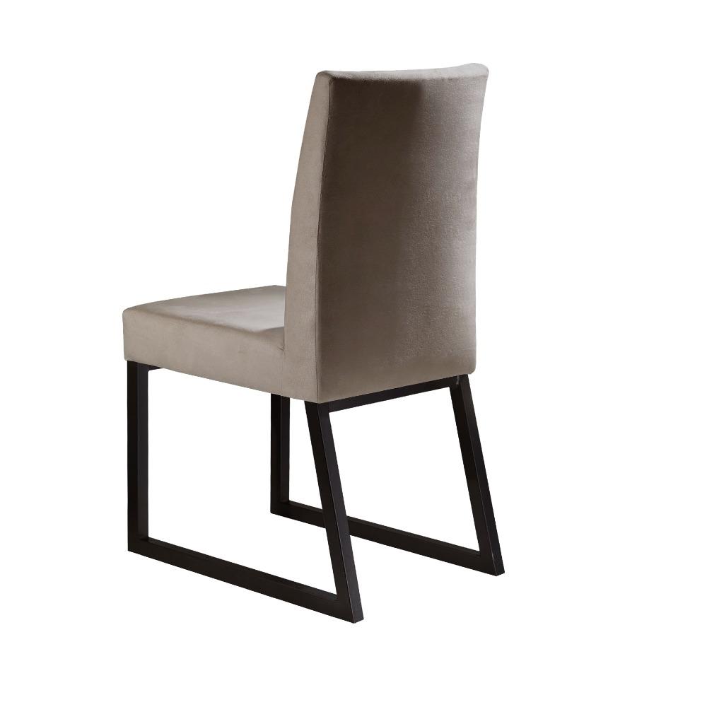 Conjunto 2 Cadeiras Itália Café/Veludo Bege caramelo - MAIS DECOR