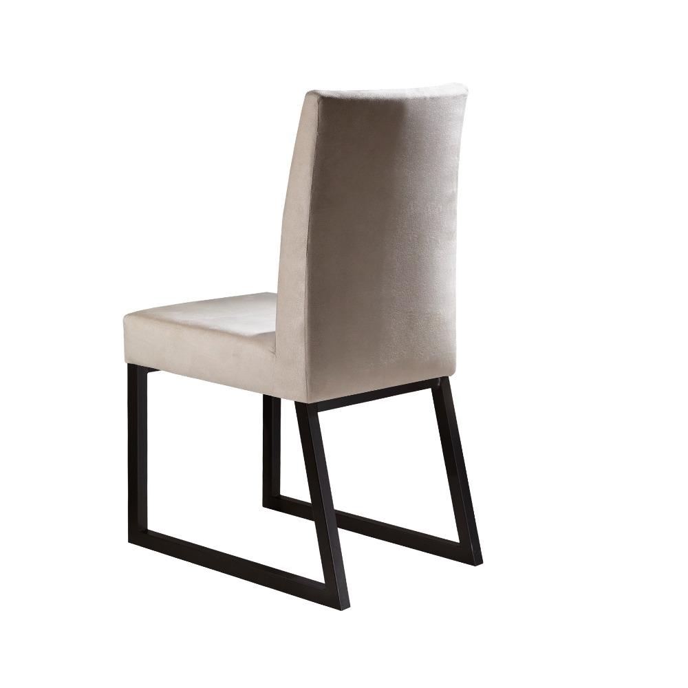 Conjunto 2 Cadeiras Itália Café/Veludo Bege Marfim - MAIS DECOR
