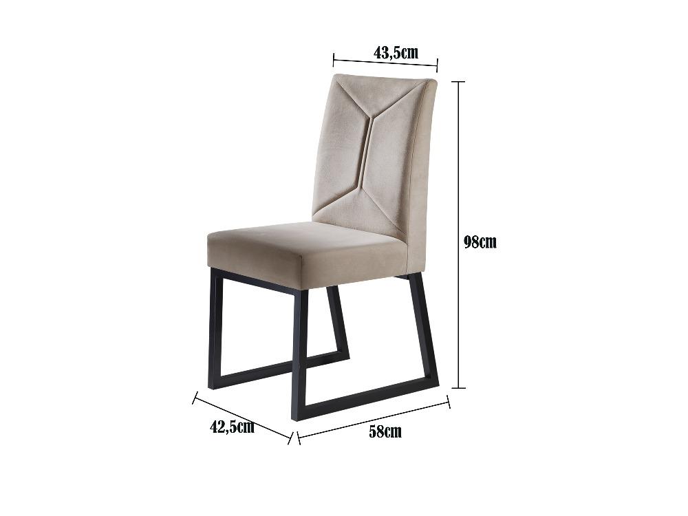 Conjunto 2 Cadeiras Itália Grafite/Veludo Bege Marfim - MAIS DECOR