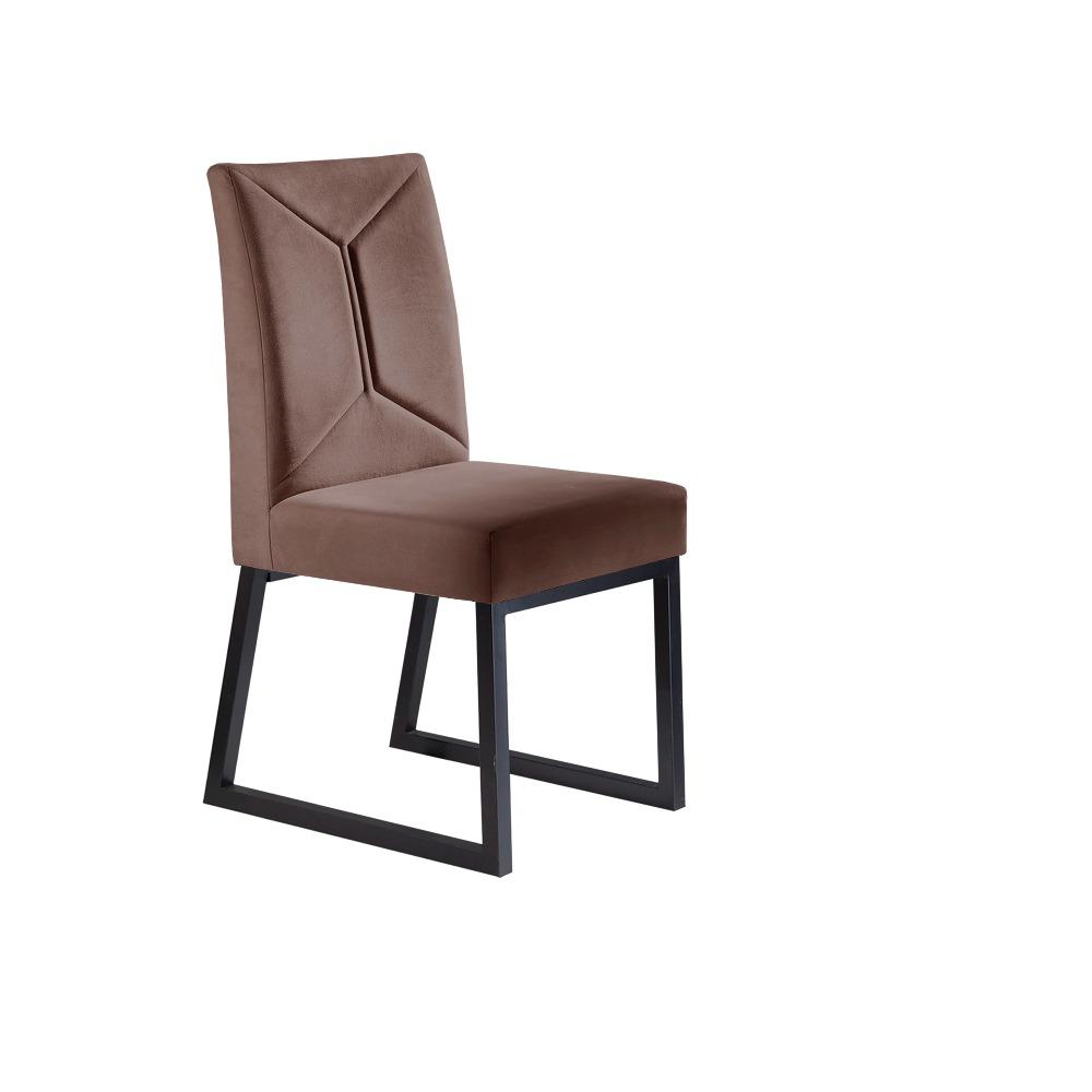 Conjunto 2 Cadeiras Itália Grafite/Veludo Marrom Caramelo - MAIS DECOR
