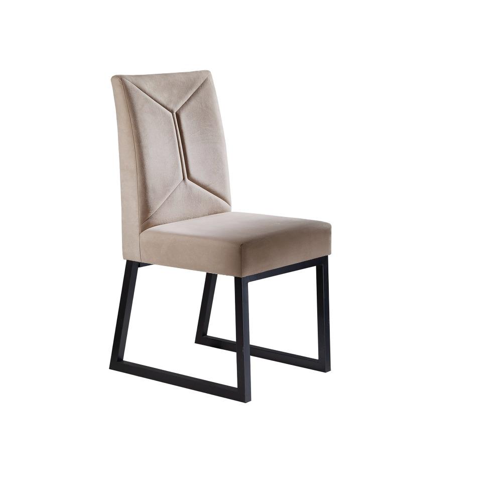 Conjunto 2 Cadeiras Itália Preto/Veludo Bege Marfim - MAIS DECOR