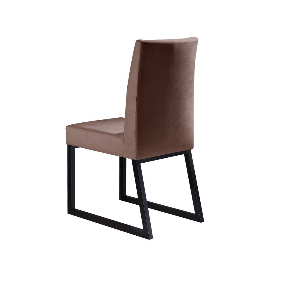 Conjunto 2 Cadeiras Itália Preto/Veludo Marrom Caramelo - MAIS DECOR