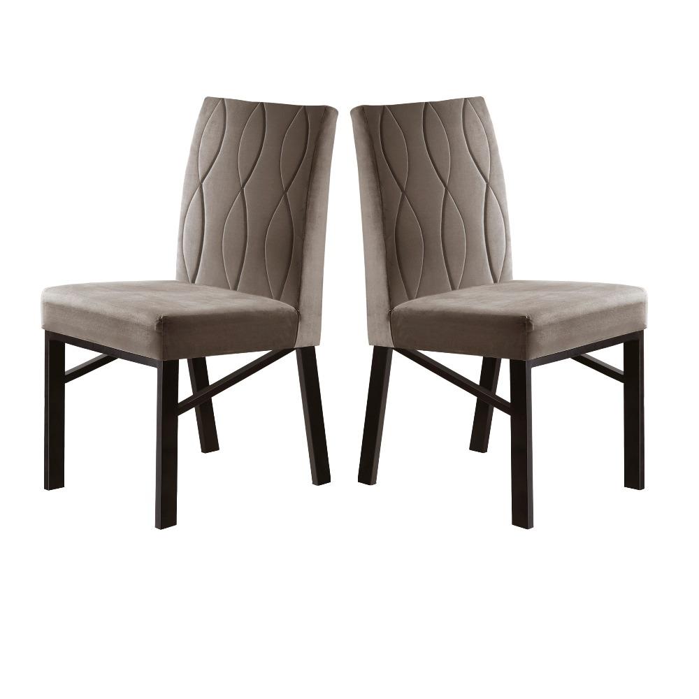 Conjunto 2 Cadeiras Zeus Café/Veludo Bege Caramelo - MAIS DECOR