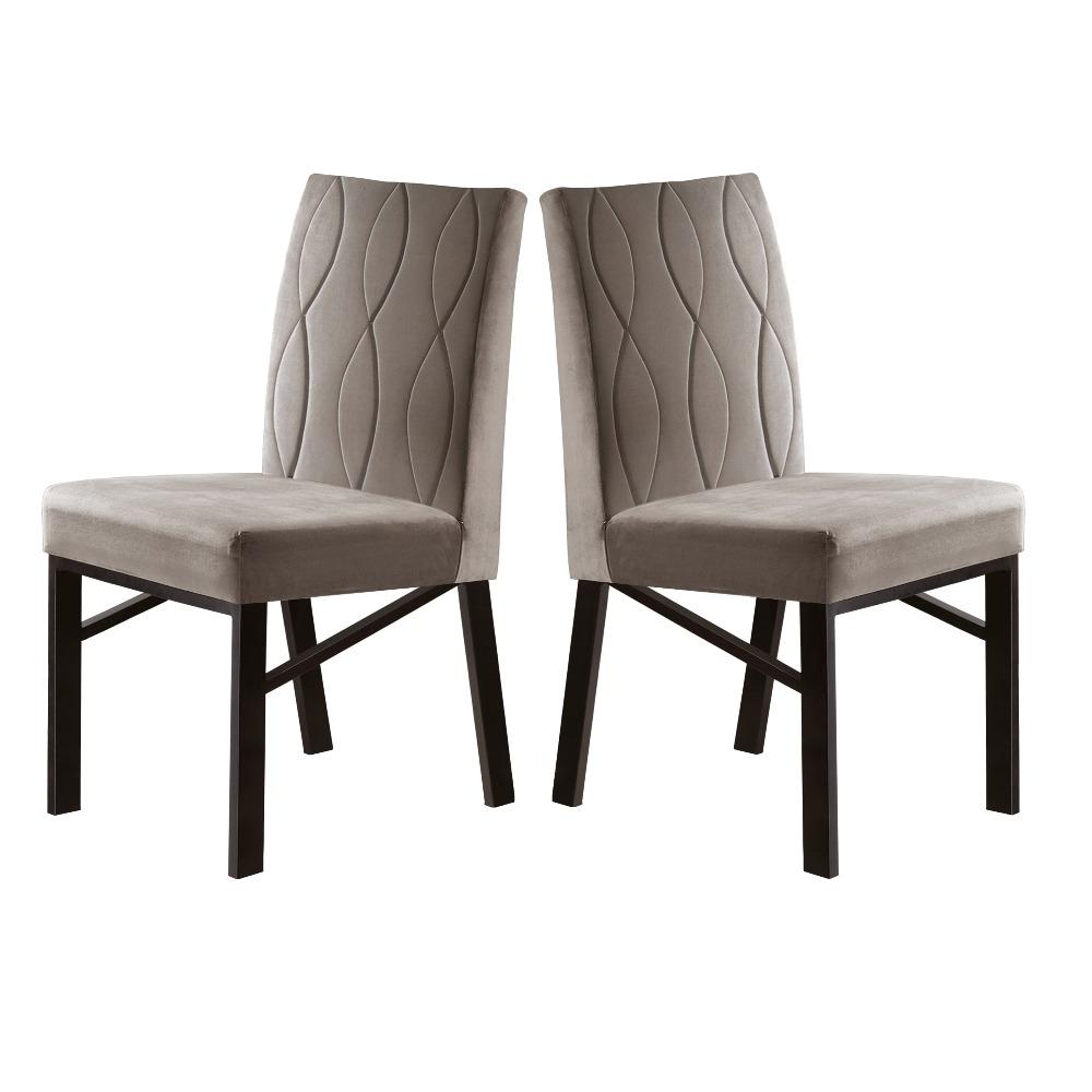 Conjunto 2 Cadeiras Zeus Café/Veludo Bege Marfim - MAIS DECOR