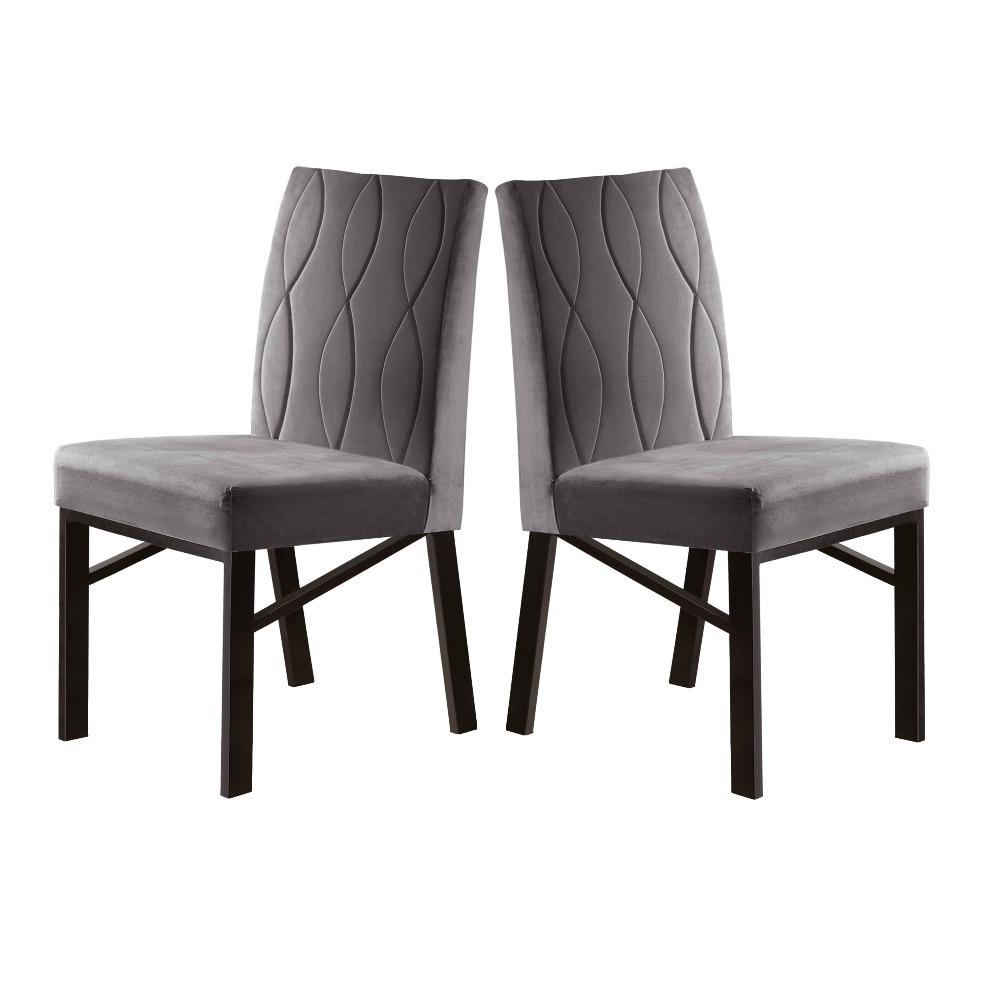 Conjunto 2 Cadeiras Zeus Café/Veludo Camurça - MAIS DECOR