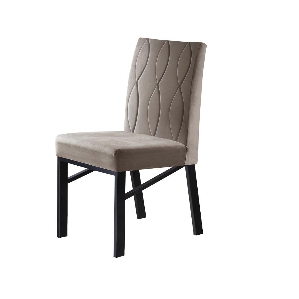 Conjunto 2 Cadeiras Zeus Grafite/Veludo Bege Marfim - MAIS DECOR