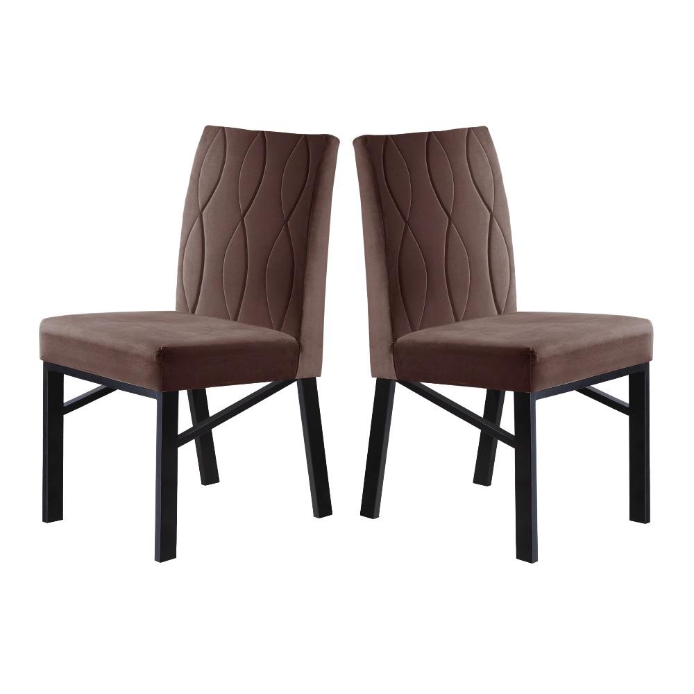 Conjunto 2 Cadeiras Zeus Grafite/Veludo Marrom Caramelo - MAIS DECOR