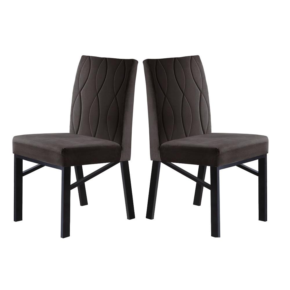 Conjunto 2 Cadeiras Zeus Grafite/Veludo Marrom - MAIS DECOR