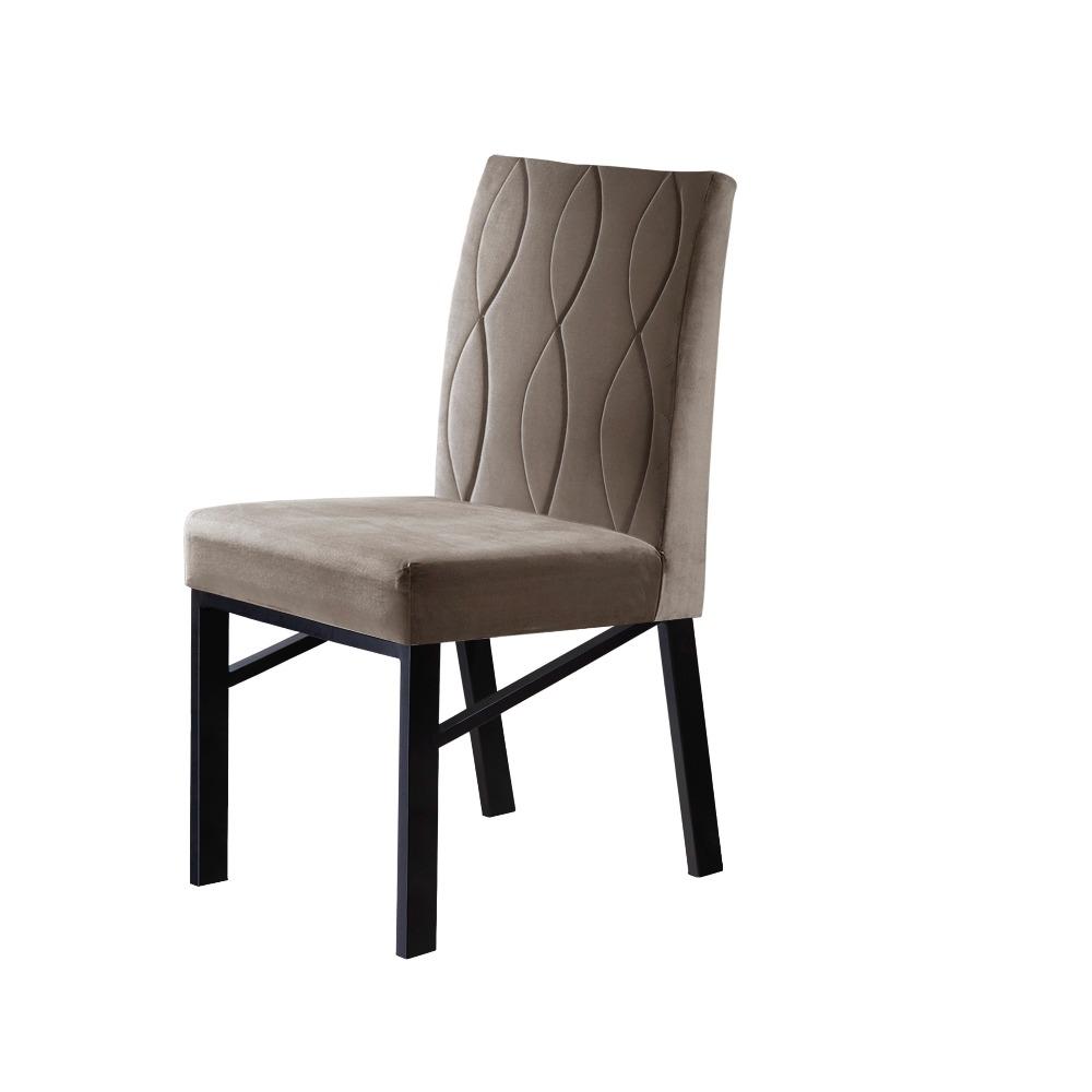 Conjunto 2 Cadeiras Zeus Preto/Veludo Bege Caramelo - MAIS DECOR