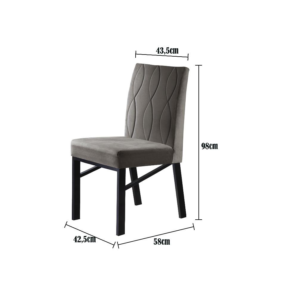 Conjunto 2 Cadeiras Zeus Preto/Veludo Camurça - MAIS DECOR
