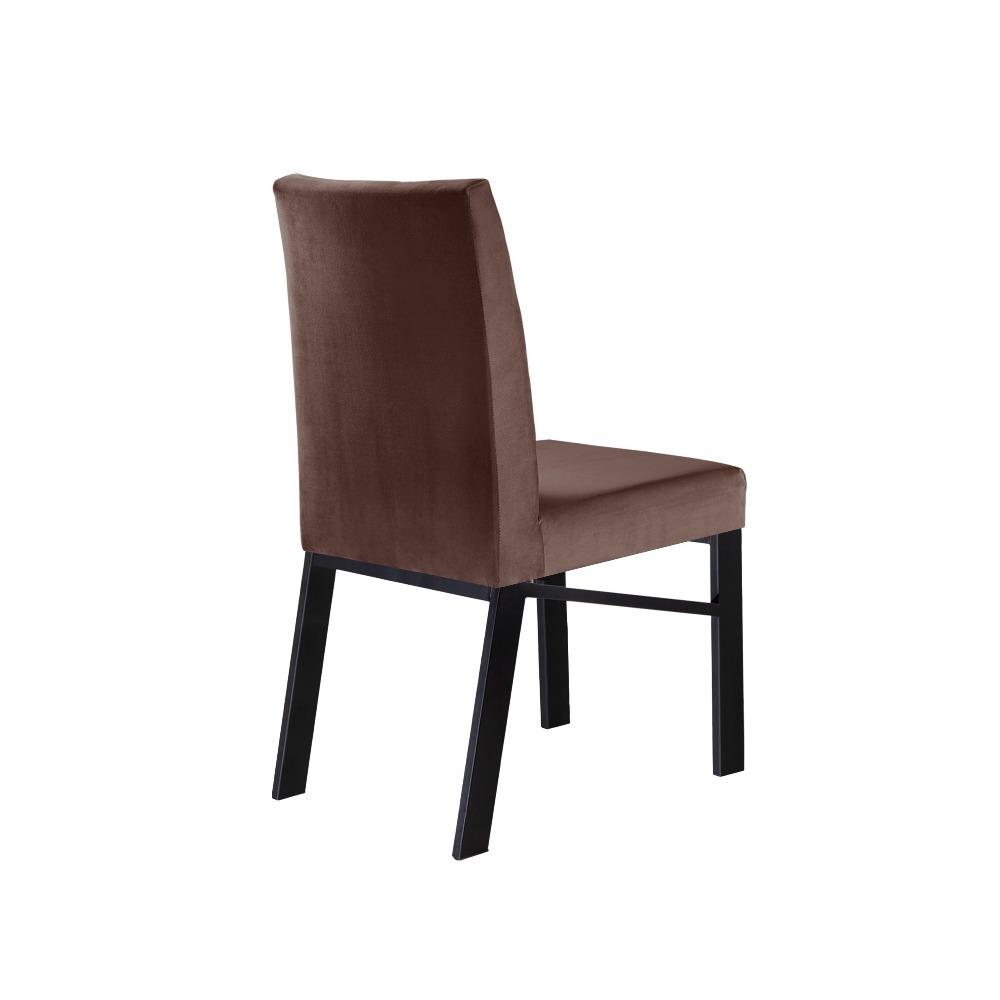 Conjunto 2 Cadeiras Zeus Preto/Veludo Marrom Caramelo - MAIS DECOR