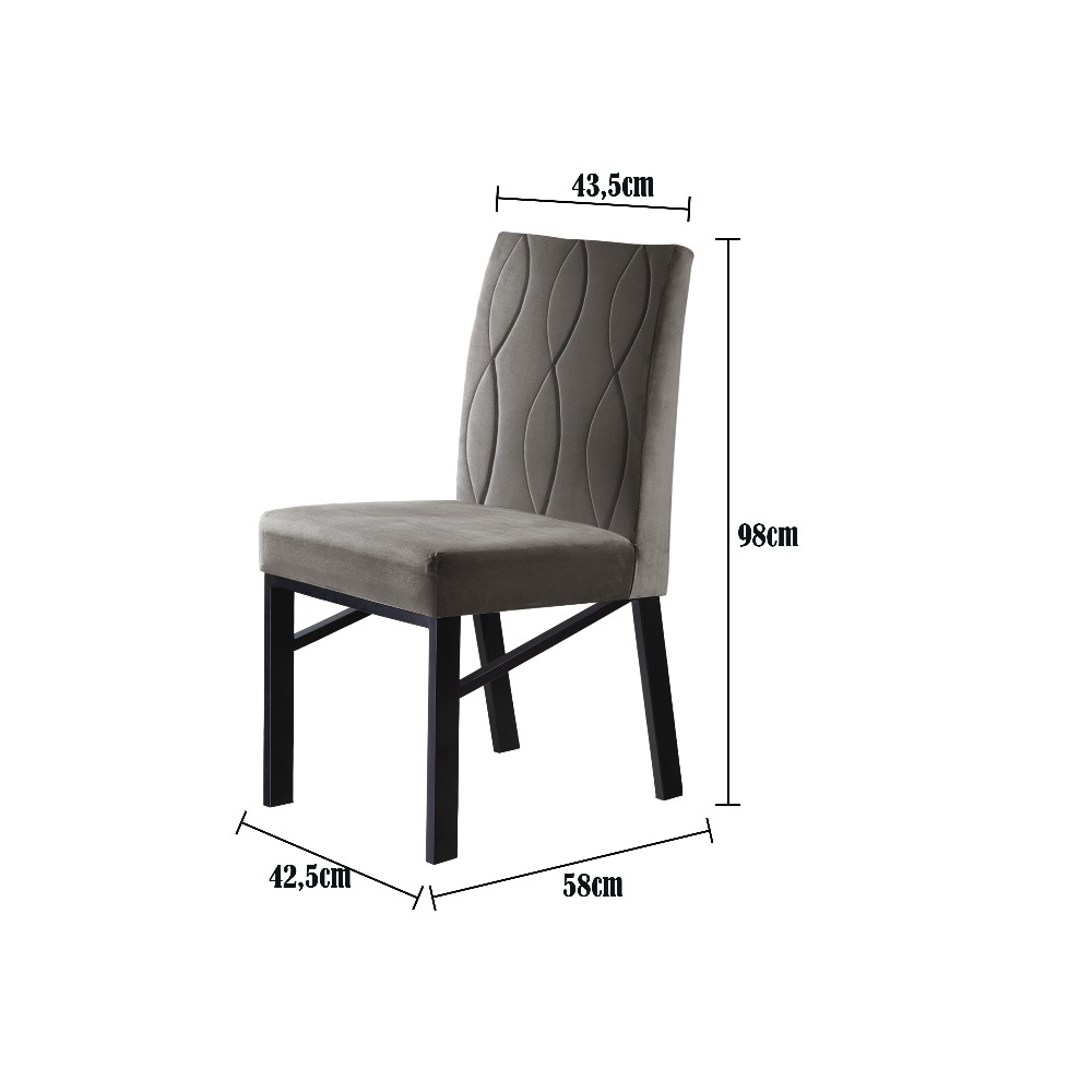 Conjunto 2 Cadeiras Zeus Preto/Veludo Marrom - MAIS DECOR