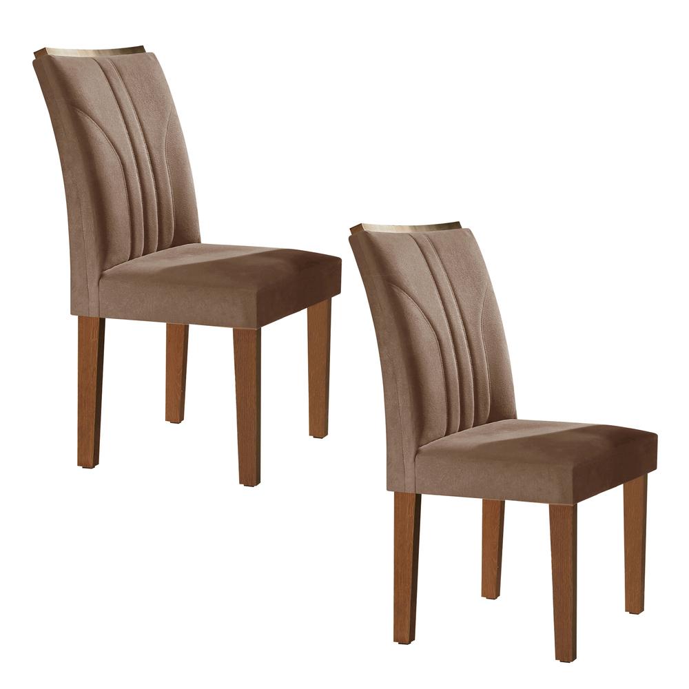 Conjunto com 2 cadeiras Belle - Chocolate/Suede Animale Marrom - Cel Móveis