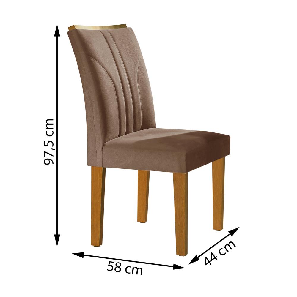 Conjunto com 2 cadeiras Belle  - Ypê/Suede Animale Marrom - Cel Móveis