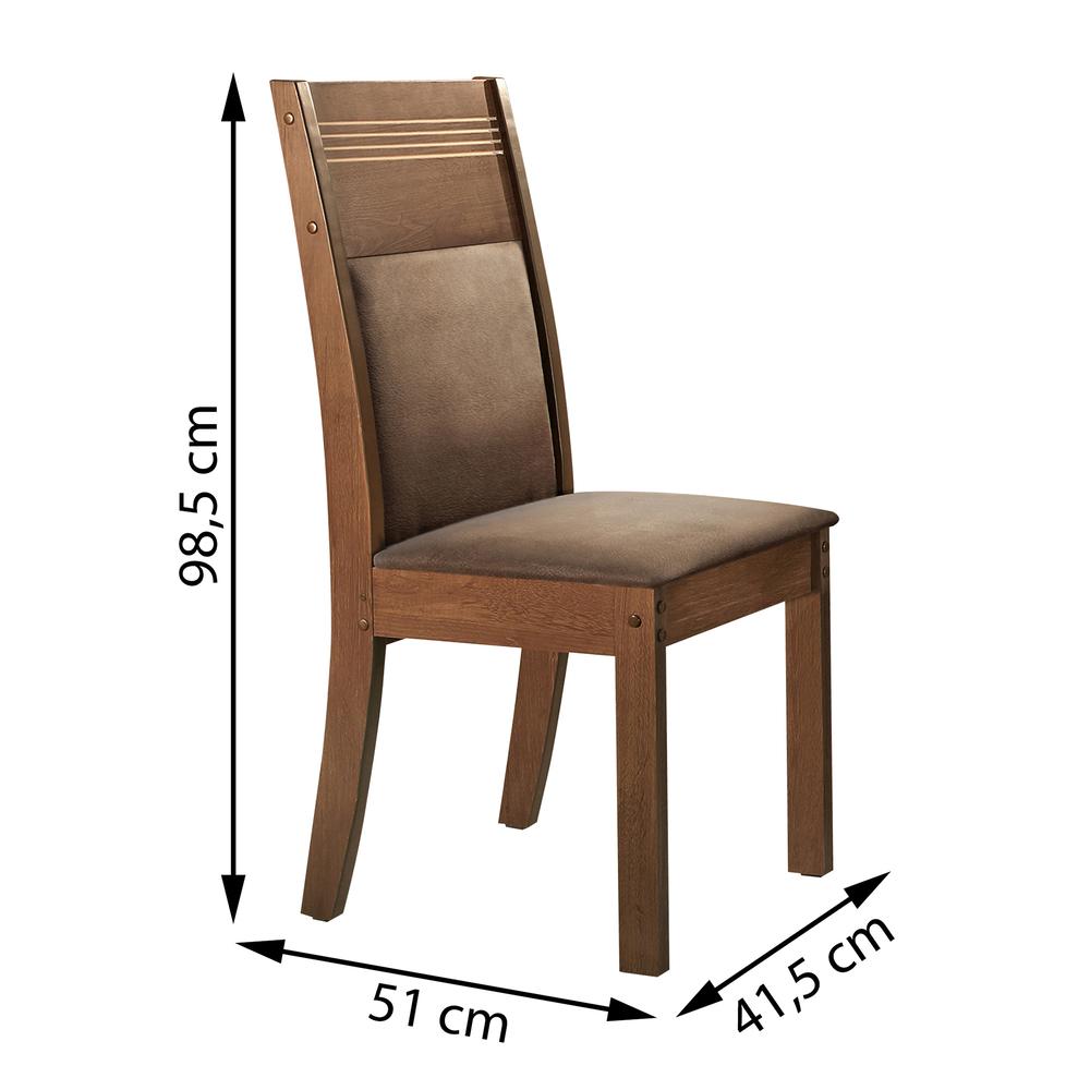 Conjunto com 2 cadeiras Ravena - Chocolate/Suede Animale Marrom -  Cel Móveis