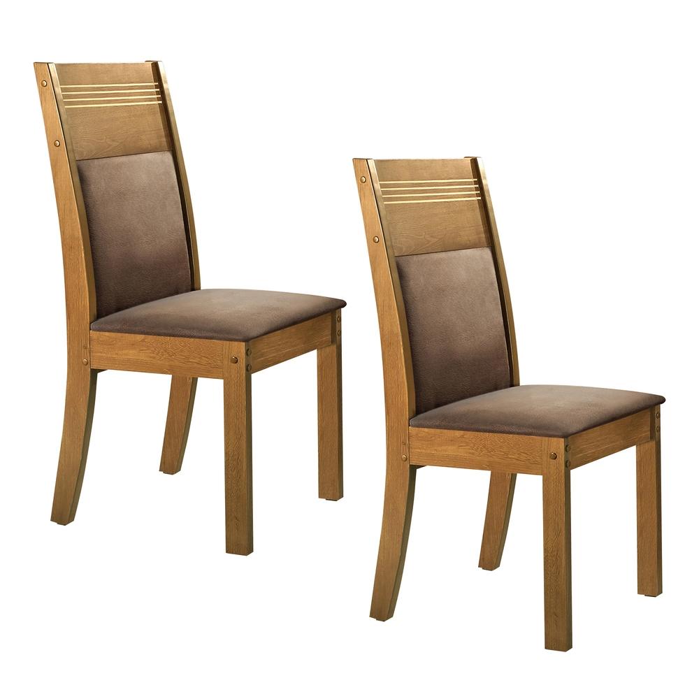 Conjunto com 2 cadeiras Ravena  - Ypê/Suede Animale Marrom - Cel Móveis