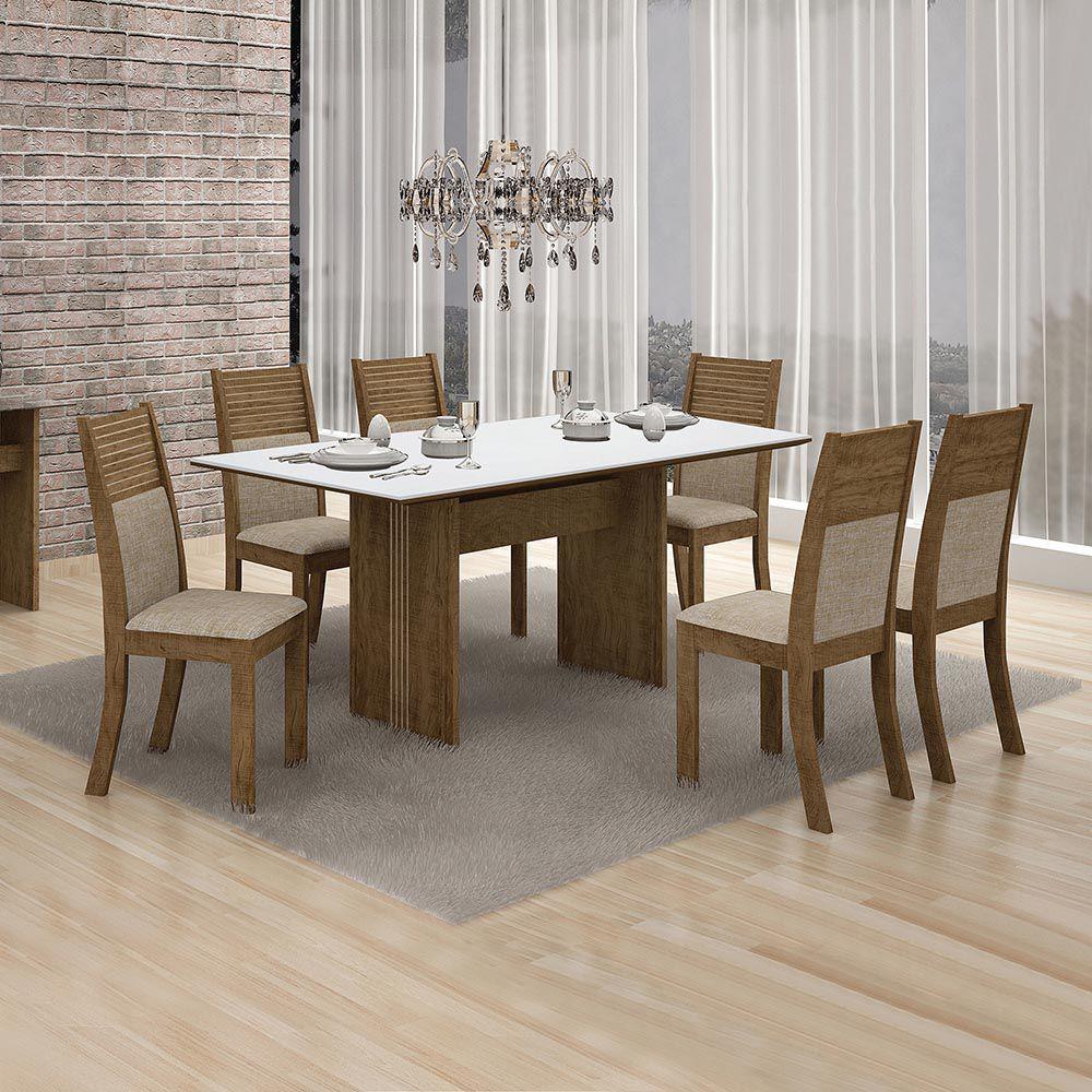 Conjunto De Mesa Florença C/ 06 Cadeiras Havai C/ Vidro Branco 1,60 4mm-leifer