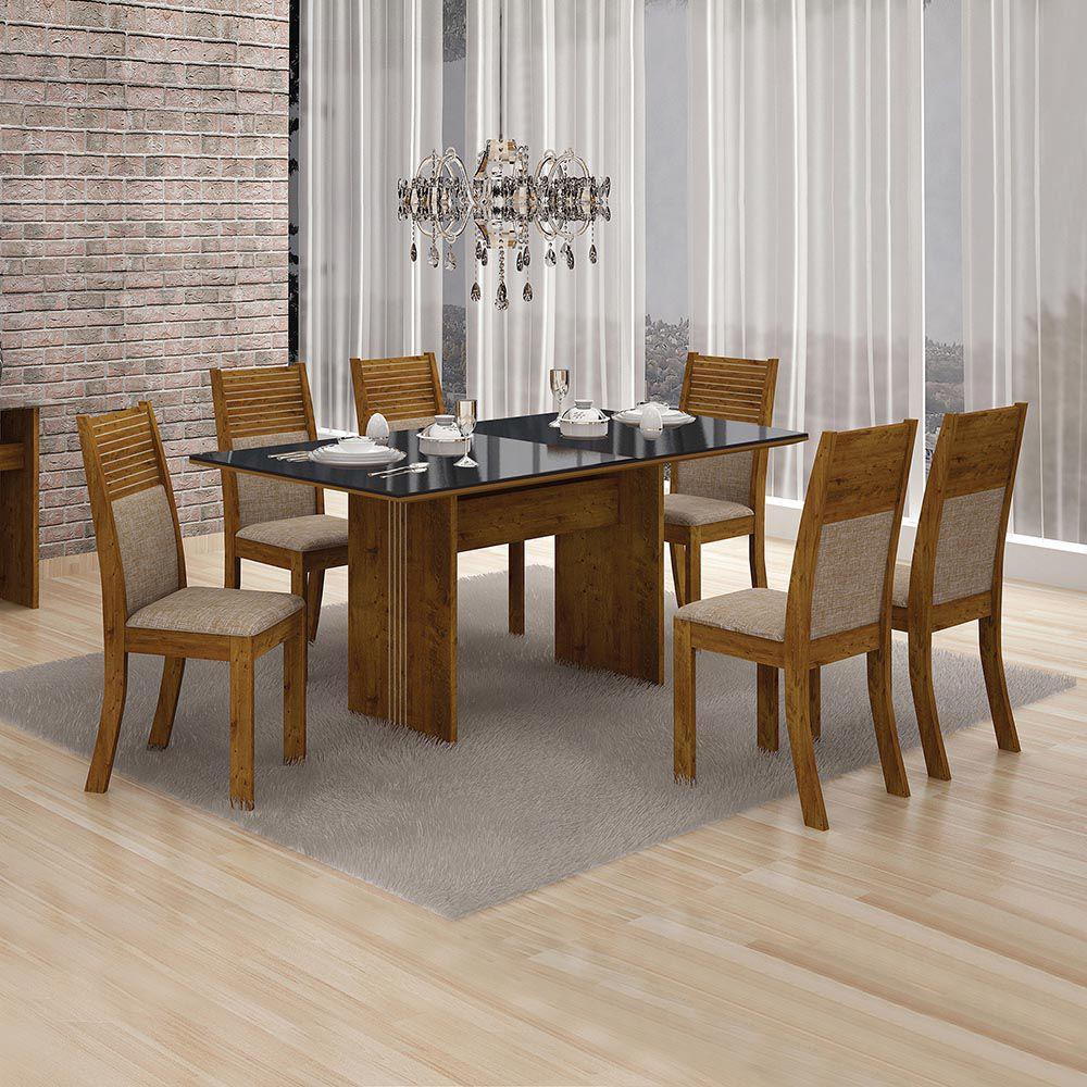 Conjunto De Mesa Florença C/ 06 Cadeiras Havai C/ Vidro Preto 1,60 4mm-leifer