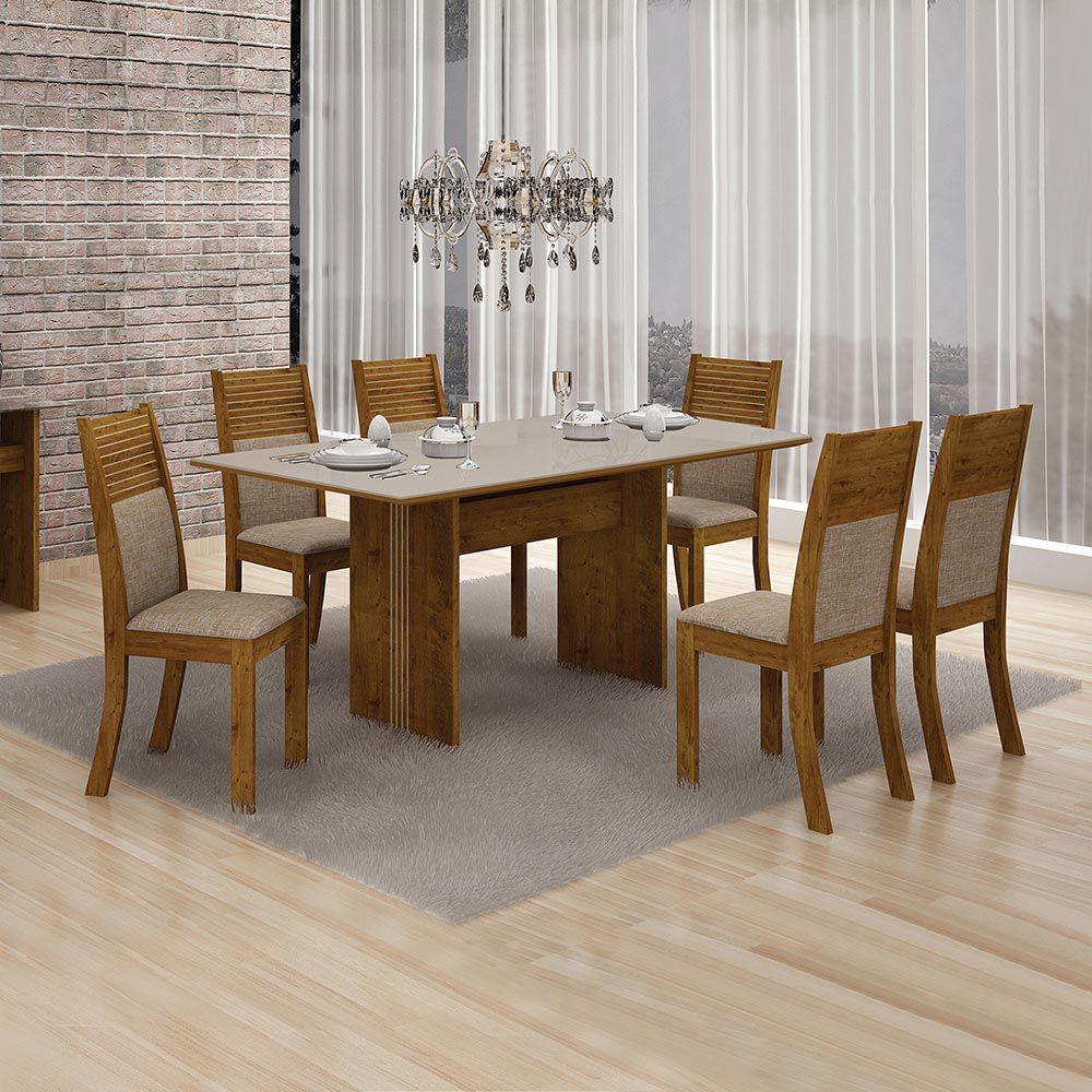 Conjunto De Mesa Florença C/ 6 Cadeiras Havai C/ Vidro Off White 1,60 4mm-leifer