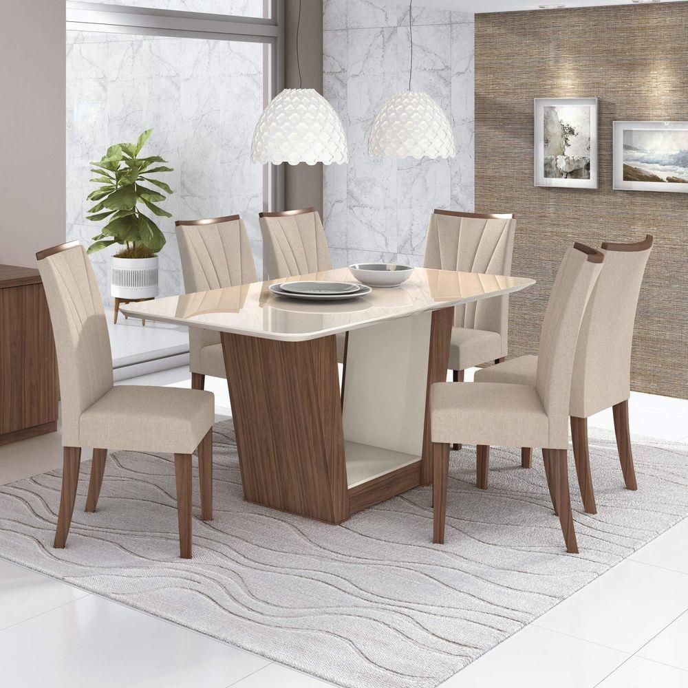 Conjunto Mesa Apogeu Plus 170 Tampo E Vidro Off White 6 Cadeiras Apogeu Imbuia Naturale/Linho Rinzae Bege - Lopas