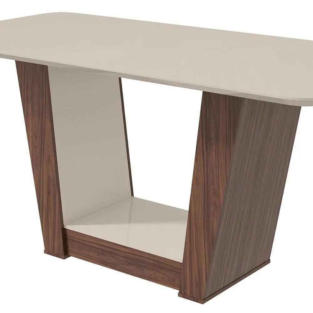 Conjunto Mesa Apogeu Plus 170 Tampo E Vidro Off White 6 Cadeiras Apogeu Imbuia Naturale/Suede Animale Bege - Lopas