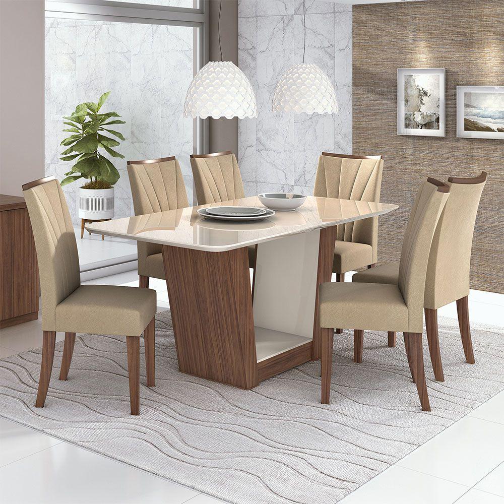 Conjunto Mesa Apogeu Plus 170 Tampo E Vidro Off White 6 Cadeiras Apogeu Imbuia Naturale/Veludo Naturale Creme - Lopas