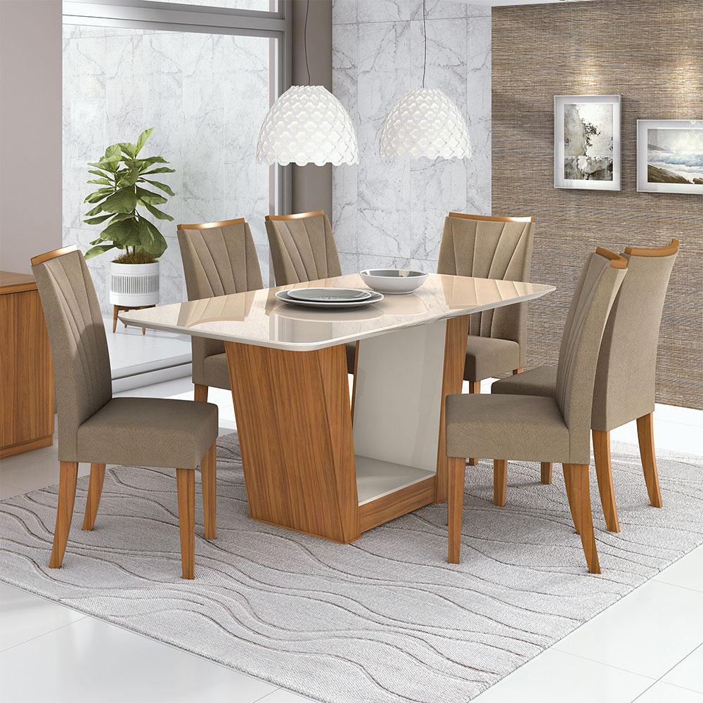 Conjunto Mesa Apogeu Plus 170 Tampo E Vidro Off White 6 Cadeiras Apogeu Rovere Naturale/Suede Animale Bege - Lopas